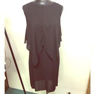 Marni Asymmetrical Cape Overlay Dress